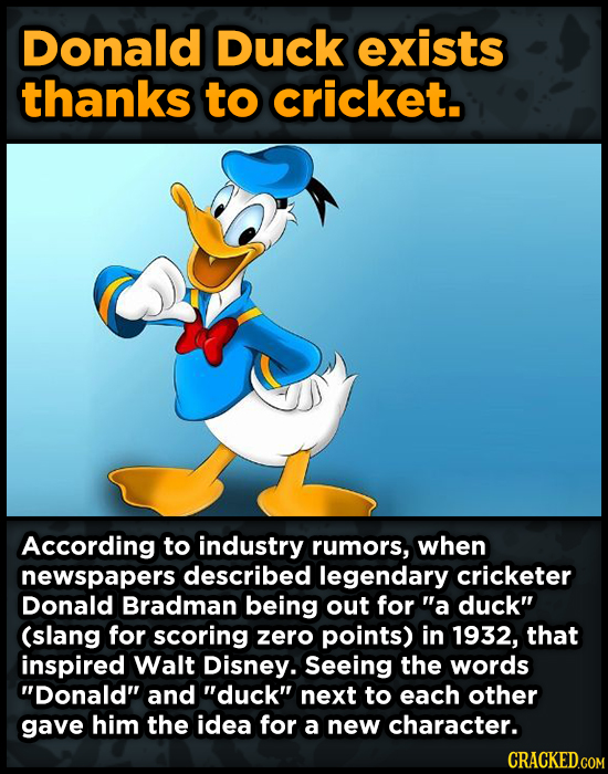 Donald Duck exists thanks to cricket. According to industry rumors, when newspapers described legendary cricketer Donald Bradman being out for a duck