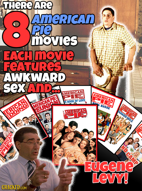 THERE ARE 8 AMERICAN PIE Movies EACH MOvie FEATURES AWKWARD sex And... AMERICAN AMERICAN LOVE BOOK OF MERICANPIE: HOUSE AMERICAN M IICAIN INAKEDMIT IF
