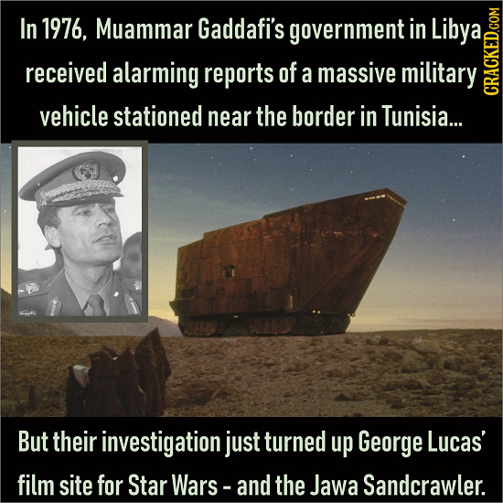 In 1976, Muammar Gaddafi's government in Libya received alarming reports of a massive military vehicle stationed near the border in Tunisia... CRAC Bu