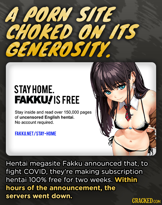 A PORN SITE CHOKED On ITS GENEROSITY. STAY HOME. FAKKU! IS FREE Stay inside and read over 150,000 pages of uncensored English hentai. No account requi