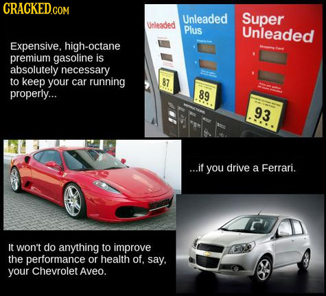 CRACKED.CON Unleaded Super Unleaded Plus Unleaded Expensive, high-octane premium gasoline is absolutely necessary to keep your car running 87 properly