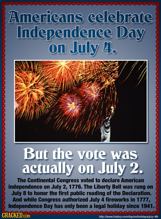 Americans celebrate Independence Day on July 4. But the vote was actually on July 2. The Continental Congress voted to declare American independence o