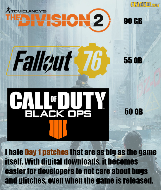 CRACKEDOON TOMCLANCY'S THE DIVISION 2 90 GB Fallut 76 55 GB CALL OF DUTY BLACK OPS 50 GB Wl I hate Day 1 patches that are as big as the game itself. W