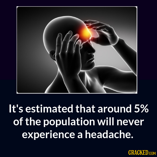 It's estimated that around 5% of the population will never experience a headache.
