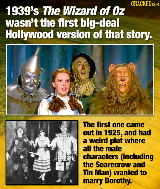 1939's The Wizard of Oz wasn't the first big-deal Hollywood version of that story. The first one came out in 1925, and had a weird plot where all the