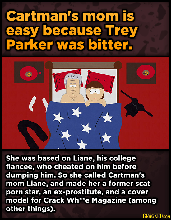 Cartman's mom is easy because Trey Parker was bitter. She was based on Liane, his college fiancee, who cheated on him before dumping him. so she calle