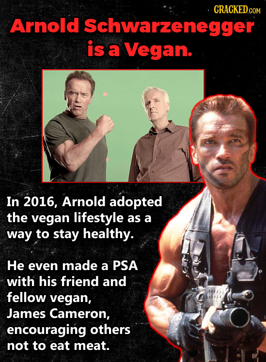 Arnold Schwarzenegger is a Vegan. In 2016, Arnold adopted the vegan lifestyle as a way to stay healthy. He even made a PSA with his friend and fellow