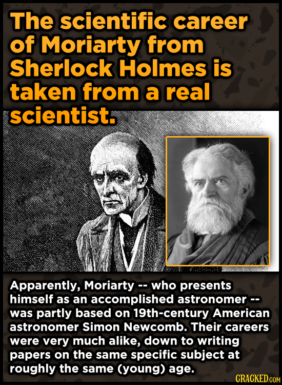 The scientific career of Moriarty from Sherlock Holmes is taken from a real scientist. Apparently, Moriarty- -who presents himself as an accomplished