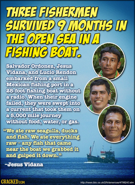 THREE FISHERMEN SURVIVED 9 MONTHS IN THE OPEN SEA INA FISHING BOAT. Salvador Ordonez, Jesus Vidana, and Lucio Rendon embarked from a small Mexican fis