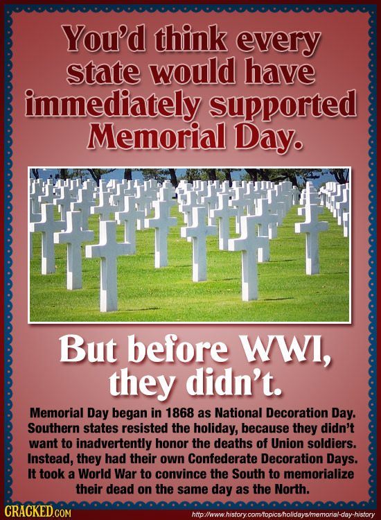 You'd think every state would have immediately supported Memorial Day. But before WWI, they didn't. Memorial Day began in 1868 as National Decoration