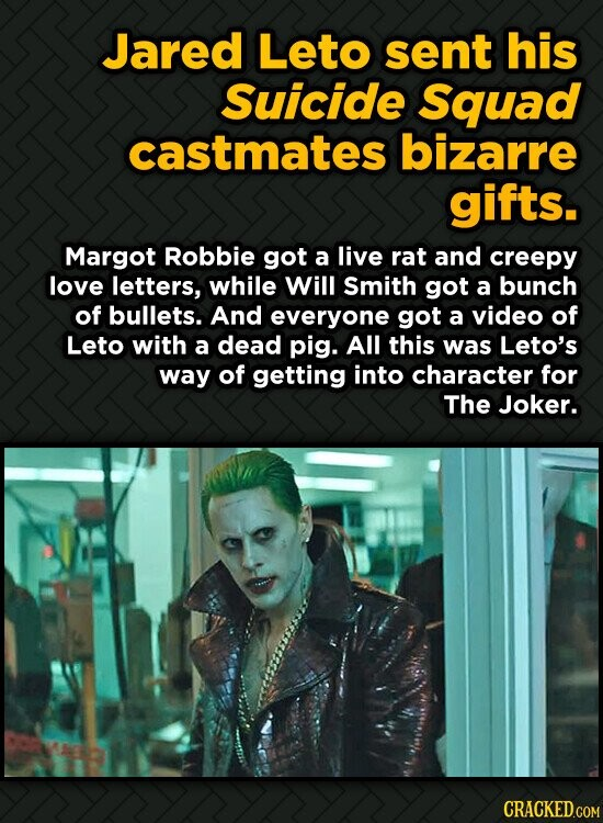 Jared Leto sent his Suicide Squad castmates bizarre gifts. Margot Robbie got a live rat and creepy love letters, while Will Smith got a bunch of bulle