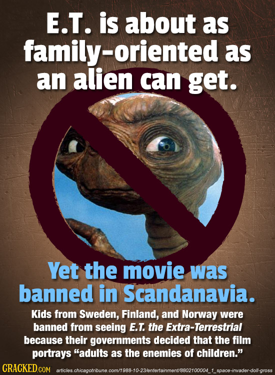 E.T. is about as family- oriented as an alien can get. Yet the movie was banned in Scandanavia. Kids from Sweden, Finland, and Norway were banned from