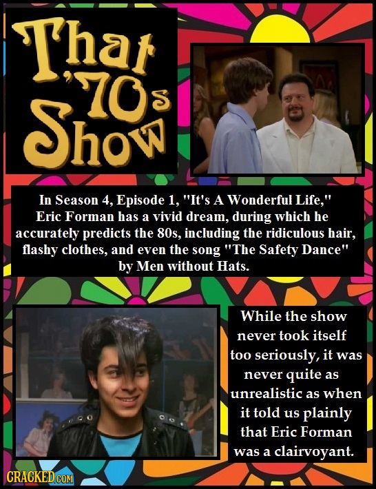 T'har 70 Show S In Season 4, Episode 1, It's A Wonderful Life, Eric Forman has a vivid dream, during which he accurately predicts the 80s, including