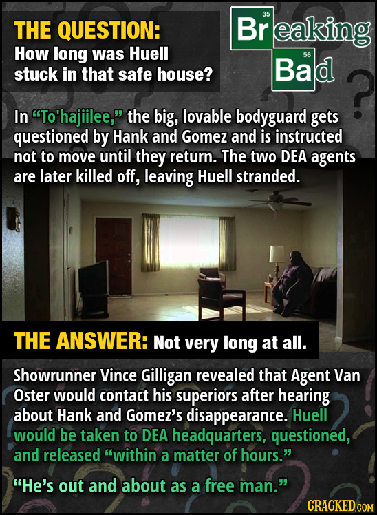 THE QUESTION: Br 35 reaking How long was Huell Bad 56 stuck in that safe house? In To'hajiilee, the big, lovable bodyguard gets questioned by Hank a