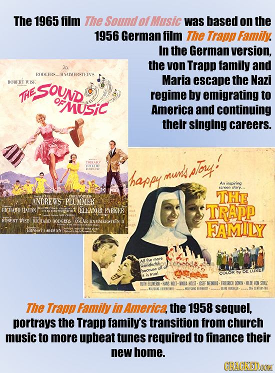 The 1965 film The Soundof Music was based on the 1956 German film The Trapp Family. In the German version, the von Trapp family and RODGERS. HAMMERSTE