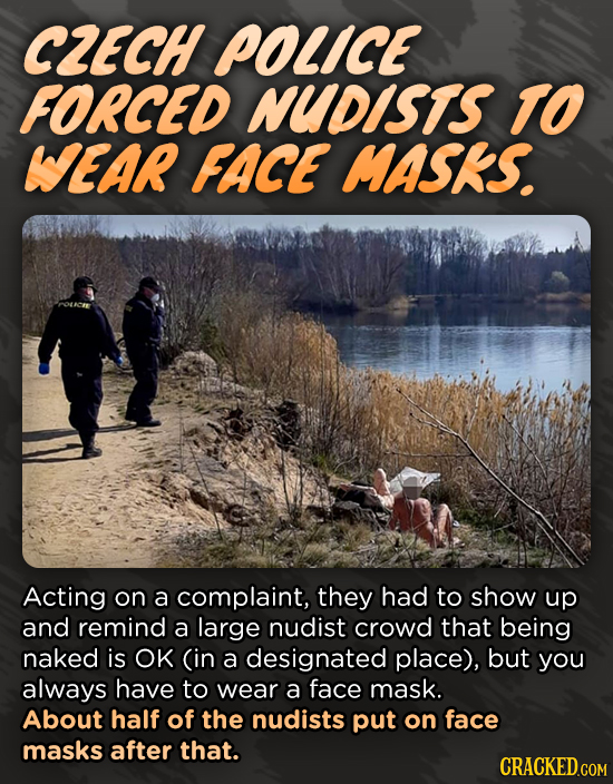 CZECH POLICE FORCED NUDISTS TO WEAR FACE MASKS. Acting on a complaint, they had to show up and remind a large nudist crowd that being naked is OK (in