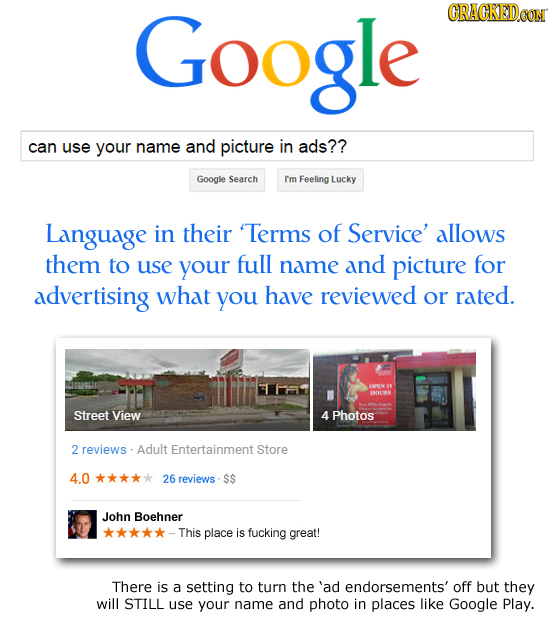 Google CRACKEDOON can use your name and picture in ads?? Google Search Im Feeling Lucky Language in their 'Terms of Service' allows them to use your f