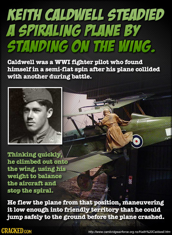 KEITH CALDWELL STEADIED A SPIRALING PLANE By STANDING ON THE WING. Caldwell was a WWI fighter pilot who found himself in a semi-flat spin after his pl