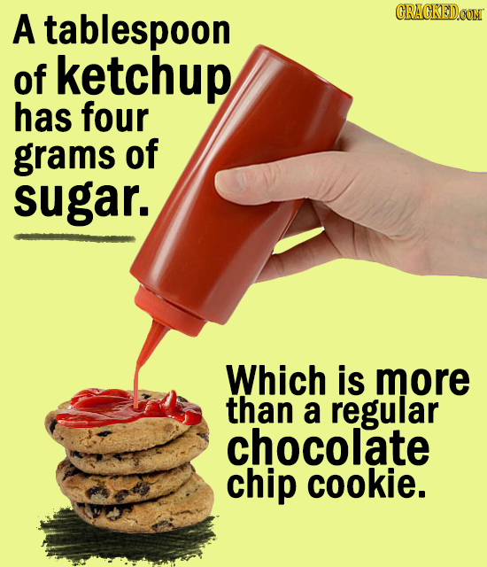 A tablespoon CRACKED.OON of ketchup has four grams of sugar. Which is more than a regular chocolate chip cookie.
