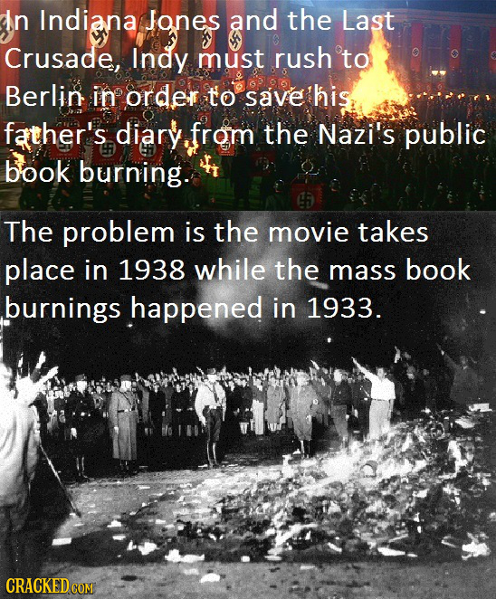In Indiana Jones and the Last Crusade, Indy must rush to Berlin in order to save his father's diary from the Nazi's public book burning. The problem i