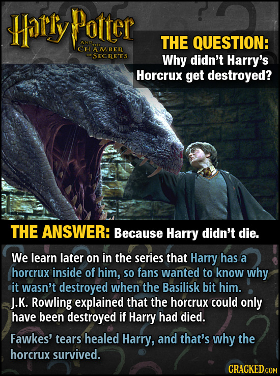 Harly Potter AND. THE QUESTION: CHAMBER rSECRETS Why didn't Harry's Horcrux get destroyed? THE ANSWER: Because Harry didn't die. We learn later on in