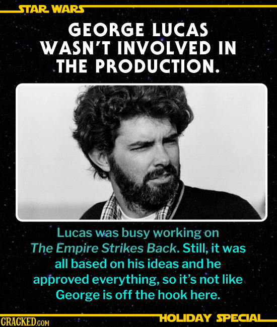 GEORGE LUCAS WASN'T INVOLVED IN THE PRODUCTION. Lucas was busy working on The Empire Strikes Back. Still, it was all based on his ideas and he approve