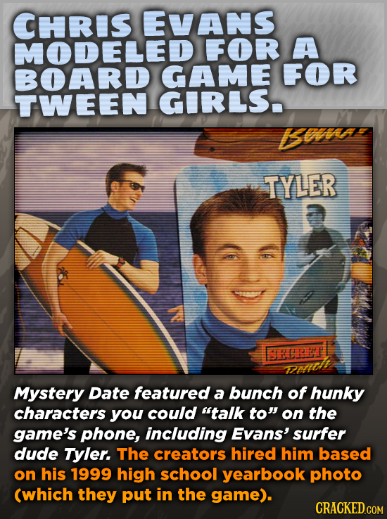 CHRIS EVANS MODELED FOR A BOARD GAME FOR TWEEN GIRLS Bn TYLER BREPT Mystery Date featured a bunch of hunky characters you could talk to on the game'