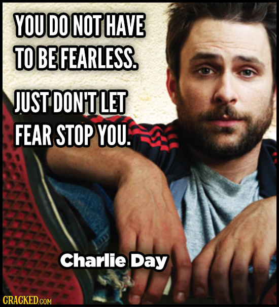 YOU DO NOT HAVE TO BE FEARLESS. JUST DON'T LET FEAR STOP YOU. Charlie Day