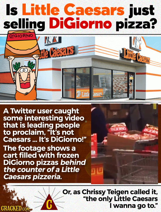 Is Little Caesars just selling DiGiorno pizza? DIGIORNO t1e Caesas Lmde Caesn Littke 215 A Twitter user caught some interesting video that is leading