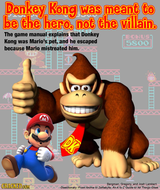 Donkey Kong was meant to be the hero not the villain. The game manual explains that Donkey EDLS Kong was Mario's pet, and he escaped 5800 because Mari