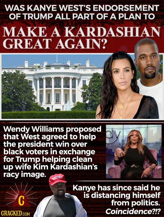 WAS KANYE WEST'S ENDORSEMENT OF TRUMP ALL PART OF A PLAN TO MAKE A KARDASHIAN GREAT AGAIN? Wendy Williams proposed that West agreed to help the presid
