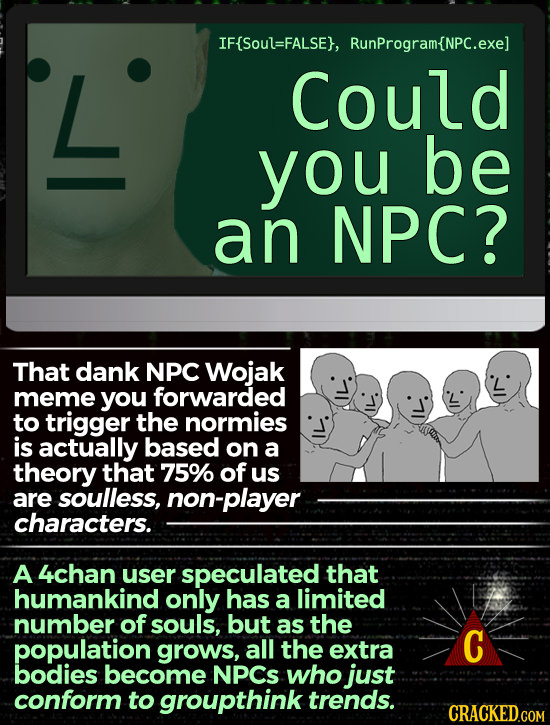 IF{Soul=FALSE}, RunProgram{NPC.exe] L Could you be an NPC? That dank NPC Wojak meme you forwarded to trigger the normies is actually based on a theory