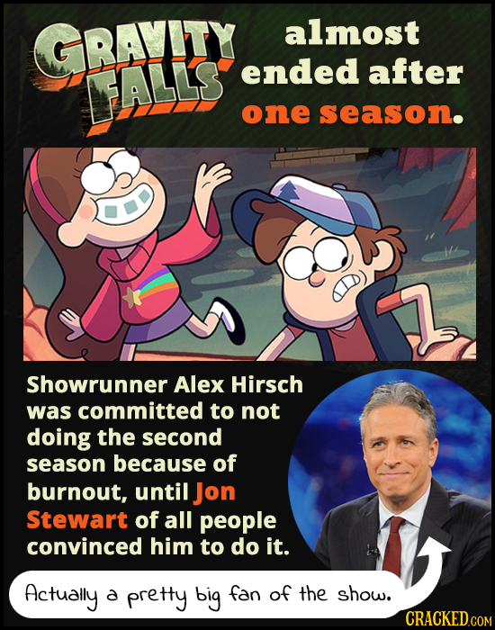 GRAYITY almost ALLS ended after one season. Showrunner Alex Hirsch was committed to not doing the second season because of burnout, until Jon Stewart
