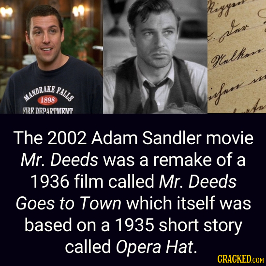 higgs pna Onlhaa sss FALLS MANDRAKE fnns 1898 VRR DRPARTMENT The 2002 Adam Sandler movie Mr. Deeds was a remake of a 1936 film called Mr. Deeds Goes t