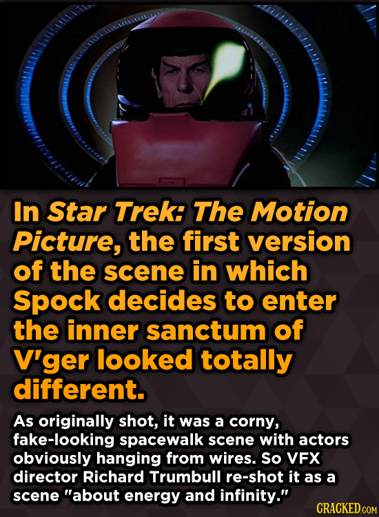 In Star Trek: The Motion Picture, the first version of the scene in which Spock decides to enter the inner sanctum of V'ger looked totally different.