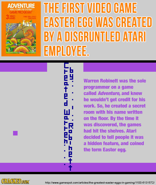 ADVENTURE THE FIRST VIDEO GAME SYSTEMT GAMEPROGRAM 3o L g RARS B EASTER EGG WAS CREATED BY A DISGRUNTLED ATARI EMPLOYEE. C Warren Robinett was the sol