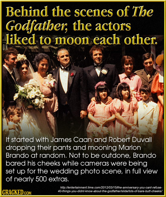 Behind the scenes of The Godfather, the actors liked to moon each other. It started with James Caan and Robert Duvall dropping their pants and mooning