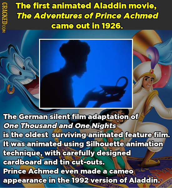 CRAC The first animated Aladdin movie, The Adventures of Prince Achmed came out in 1926. The German silent film adaptation of One Thousand and One Nig