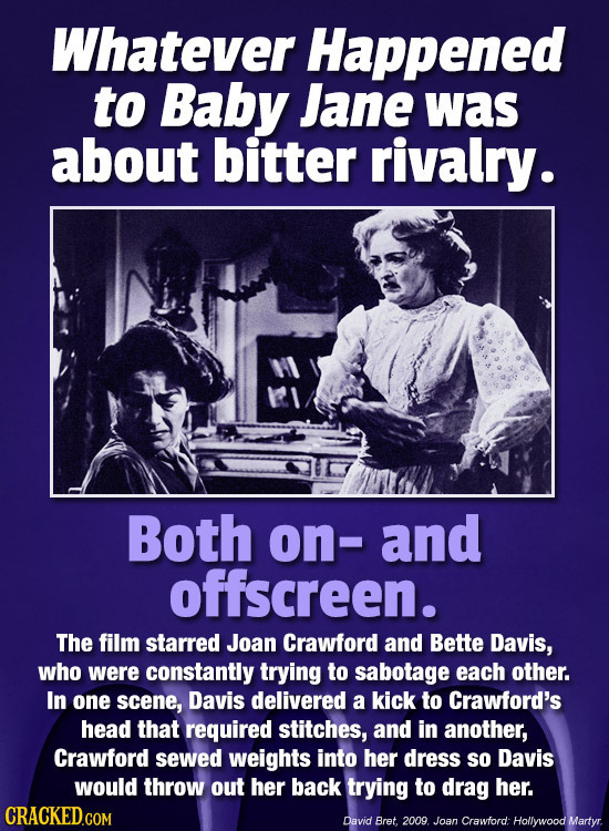 Whatever Happened to Baby Jane was about bitter rivalry. Both on- and offscreen. The film starred Joan Crawford and Bette Davis, who were constantly t
