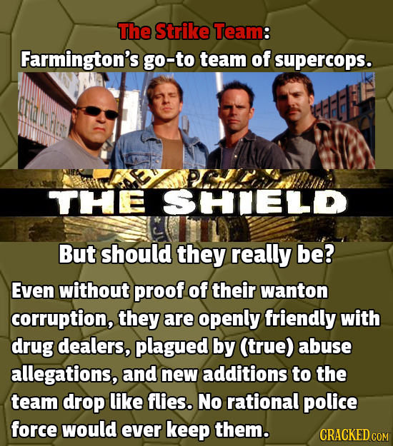 The Strike Team: Farmington's go-to team of supercops. AMZDAP PLCHide THE SSHIIELD But should they really be? Even without proof of their wanton corru