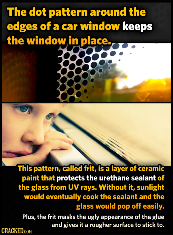 The dot pattern around the edges of a car window keeps the window. in place. This pattern, called frit, is a layer of ceramic paint that protects the