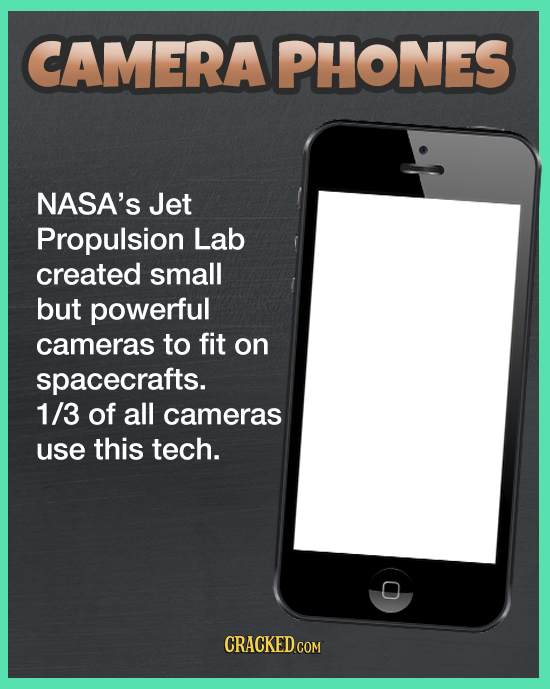 CAMERAPHONES NASA'S Jet Propulsion Lab created small but powerful cameras to fit on spacecrafts. 1/3 of all cameras use this tech. O CRACKED COM