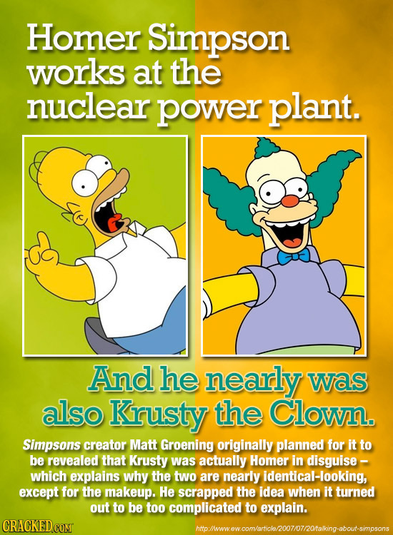 Homer Simpson works at the nuclear power plant. And he nearly was also Krusty the Clown. Simpsons creator Matt Groening originally planned for it to b