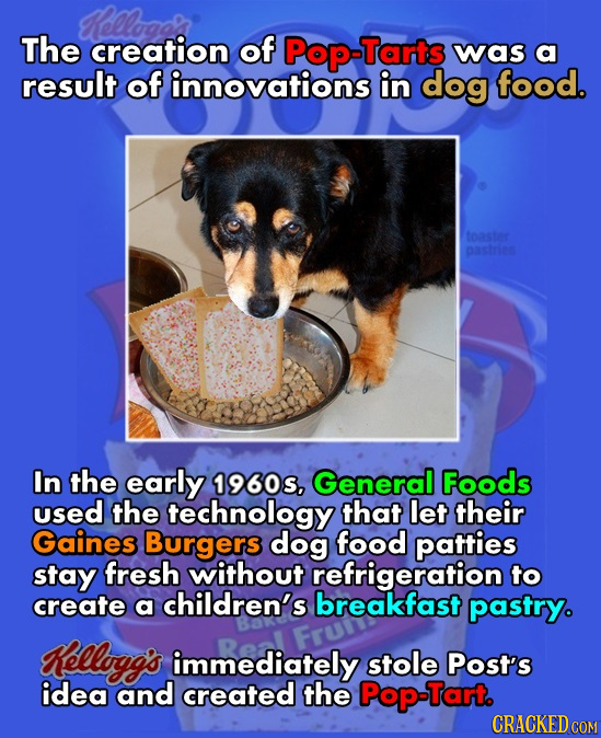 KRellogals The creation of Pop-Tarts was a result of innovations in dog food. toster pastrine In the early 1960s, General Foods used the technology th