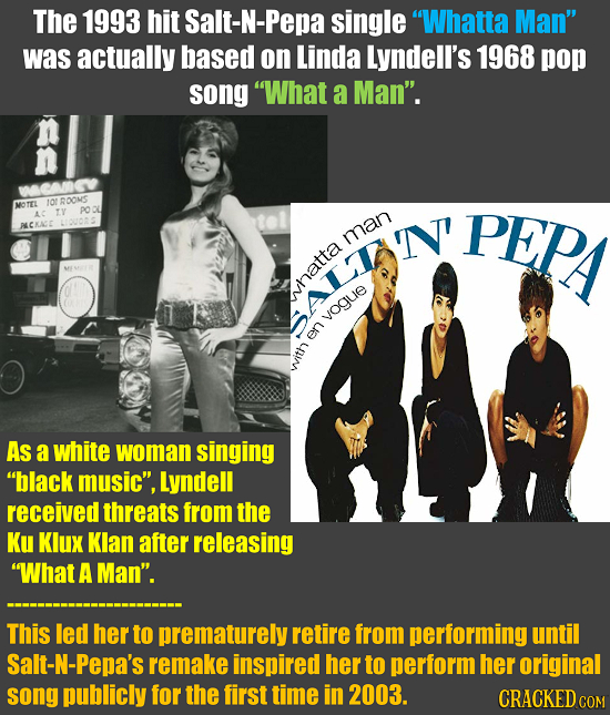 The 1993 hit Salt-N-Pepa single Whatta Man was actually based on Linda Lyndell's 1968 pop song What a Man. WCMGV MOTEL 10 RD0MS TY pO AC PEP ALCKA