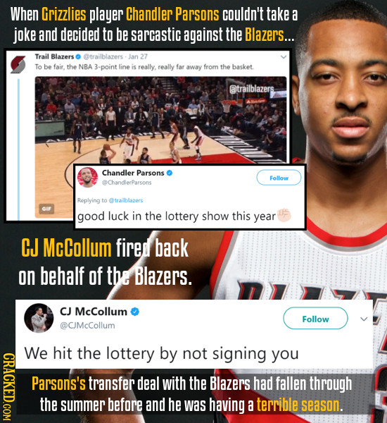 When Grizzlies player Chandler Parsons couldn't take a joke and decided to be sarcastic against the Blazers... Trail Blazers @trailblazers- Jan 27 To