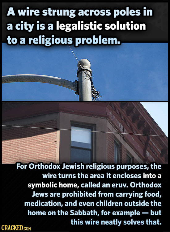 A wire strung across poles in a city is a legalistic solution to a religious problem. For Orthodox Jewish religious purposes, the wire turns the area