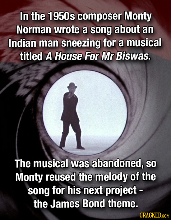 In the 1950s composer Monty Norman wrote a song about an Indian man sneezing for a musical titled A House For Mr Biswas. The musical was abandoned, SO