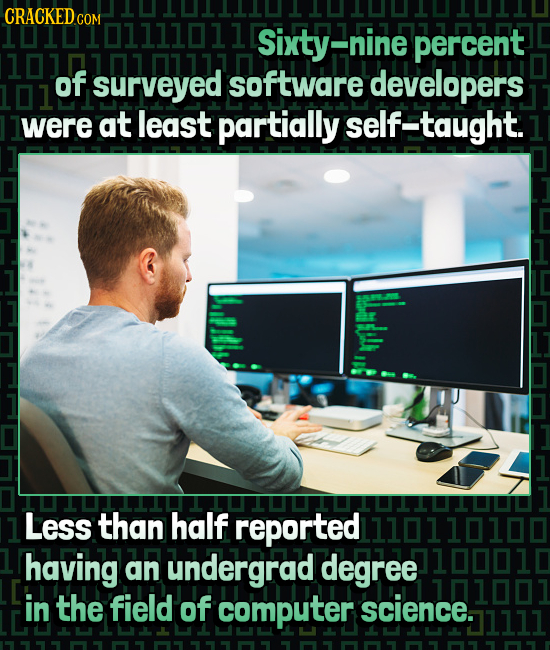101LI01111011D Sixty- nine percent of surveyed software developers were at least partially self-taught. 1 Less than half reported having an undergrad