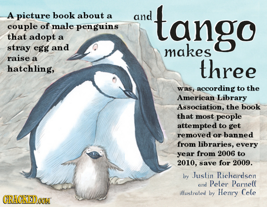 A picture book about a and tango couple of male penguins that adopt a stray egg and makes raise a three hatchling, was, according to the American Libr